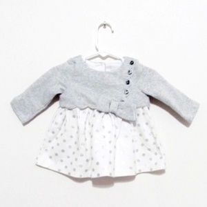 TAHARI Baby Grey Bow Polka Dot Dress